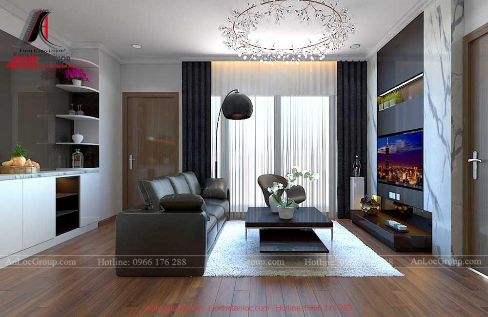 Thiết kế nội thất chung cư 3 phòng ngủ tại Vinhomes Bắc Ninh - Phòng khách 2