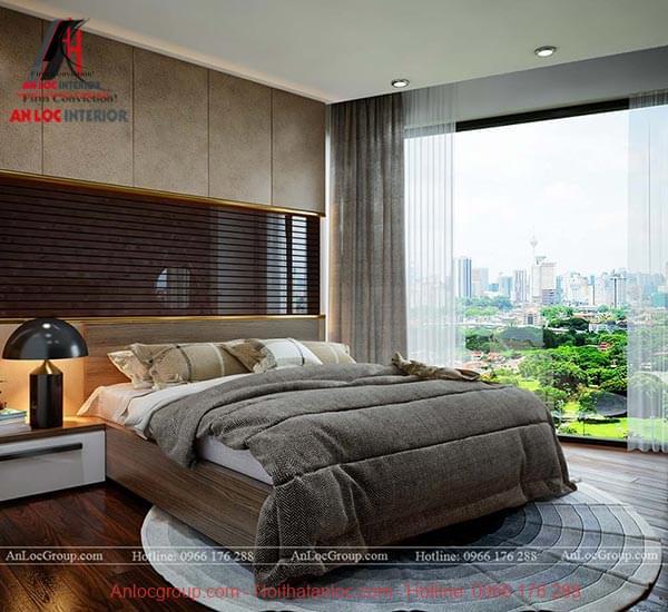 Bức tường trên đầu giường ngủ là điểm nhấn của căn phòng