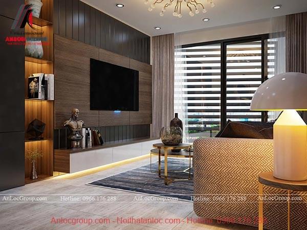 Chất liệu gỗ được sử dụng cho kệ tivi và kệ trang trí trong phòng khách