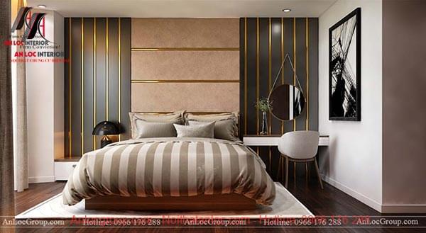 Những đường chỉ phào màu vàng óng ả tạo nên sự sang trọng trong không gian phòng ngủ
