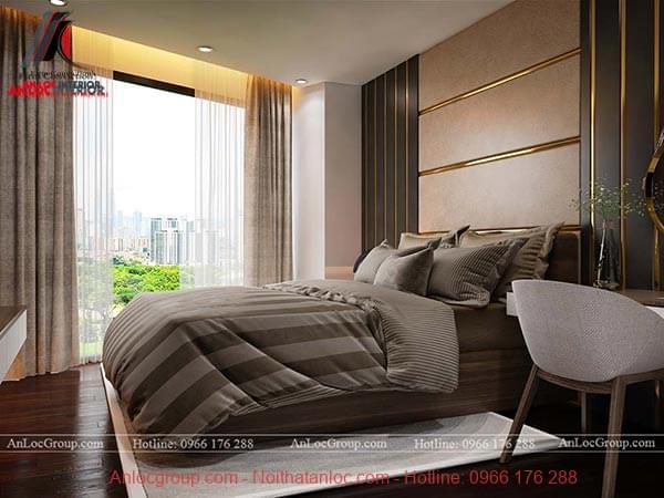 Ánh sáng tự nhiên giúp cho phòng ngủ master căn hộ cao cấp thêm thông thoáng, rộng rãi