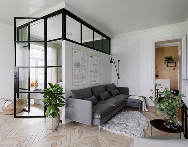 Mẫu thiết kế nội thất căn hộ nhỏ theo phong cách tối giản - Ảnh 1