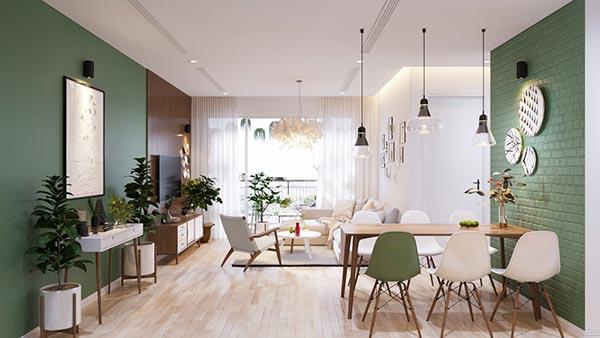 Ngắm những mảng xanh trong thiết kế căn hộ 3 phòng ngủ - Ảnh 1