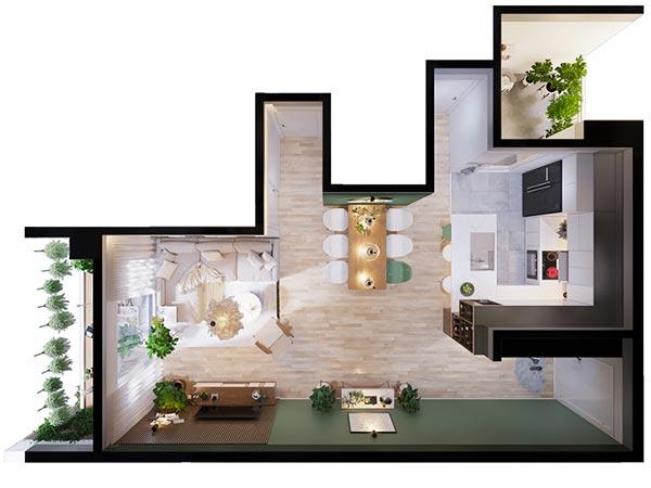 Ngắm những mảng xanh trong thiết kế căn hộ 3 phòng ngủ - Ảnh 13