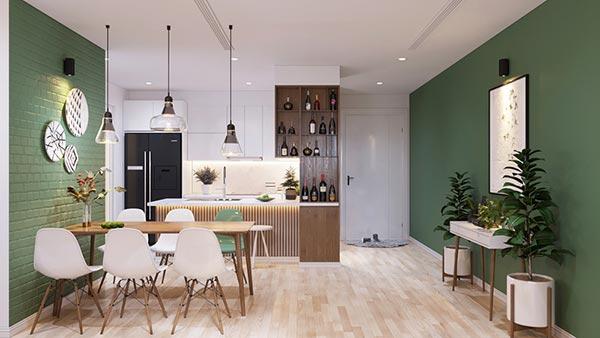 Ngắm những mảng xanh trong thiết kế căn hộ 3 phòng ngủ - Ảnh 4
