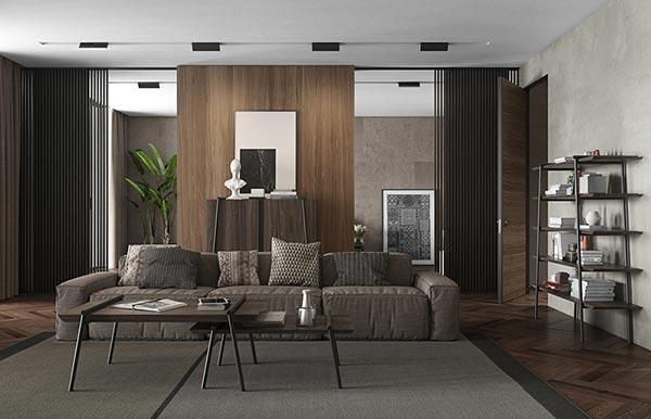 Khám phá màu sắc nam tính, mạnh mẽ trong căn hộ chung cư hiện đại