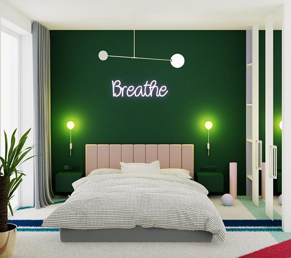 Phòng ngủ màu xanh 7`